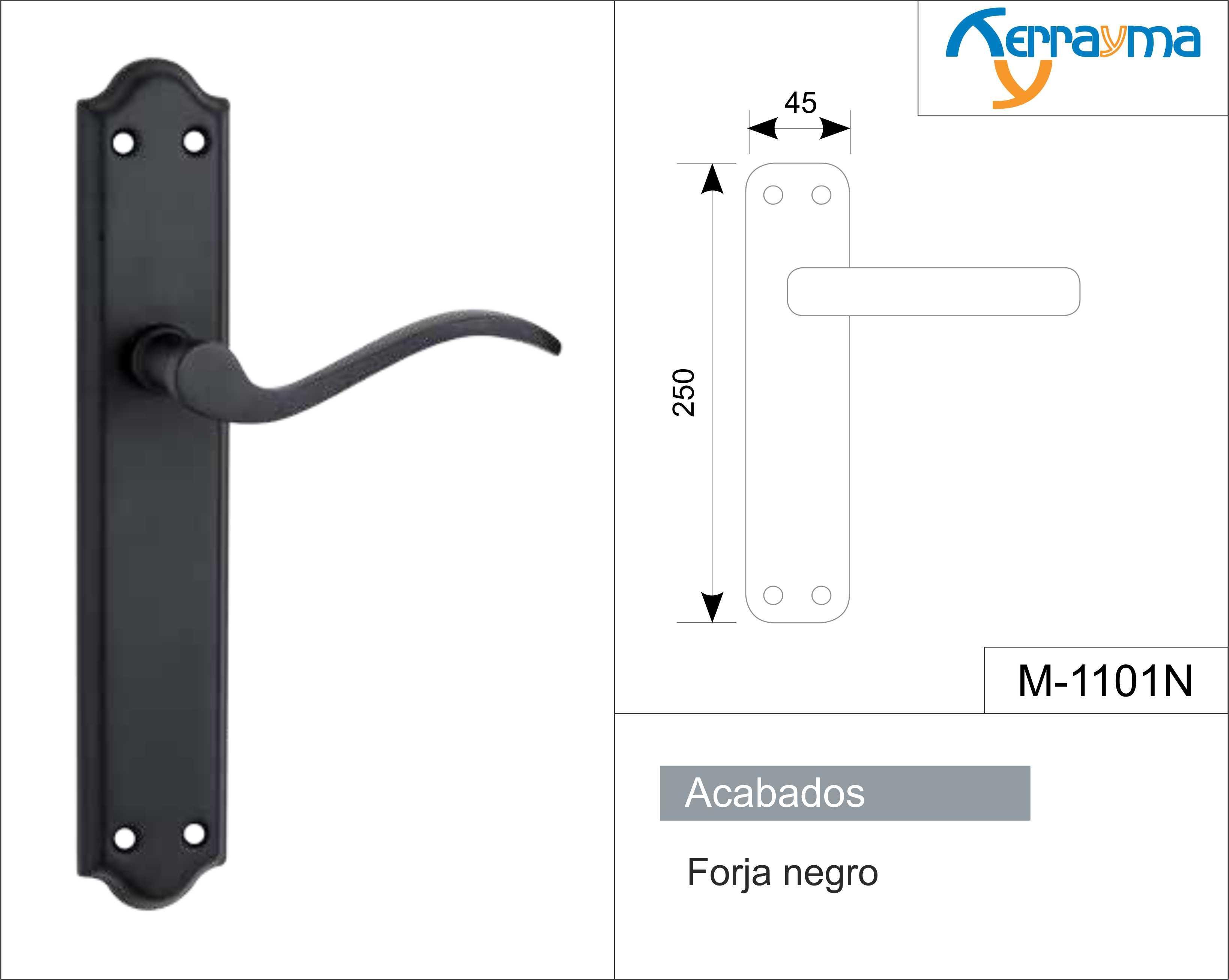 Manilla placa negro liso modelo m 1101n - Manillas de forja ...