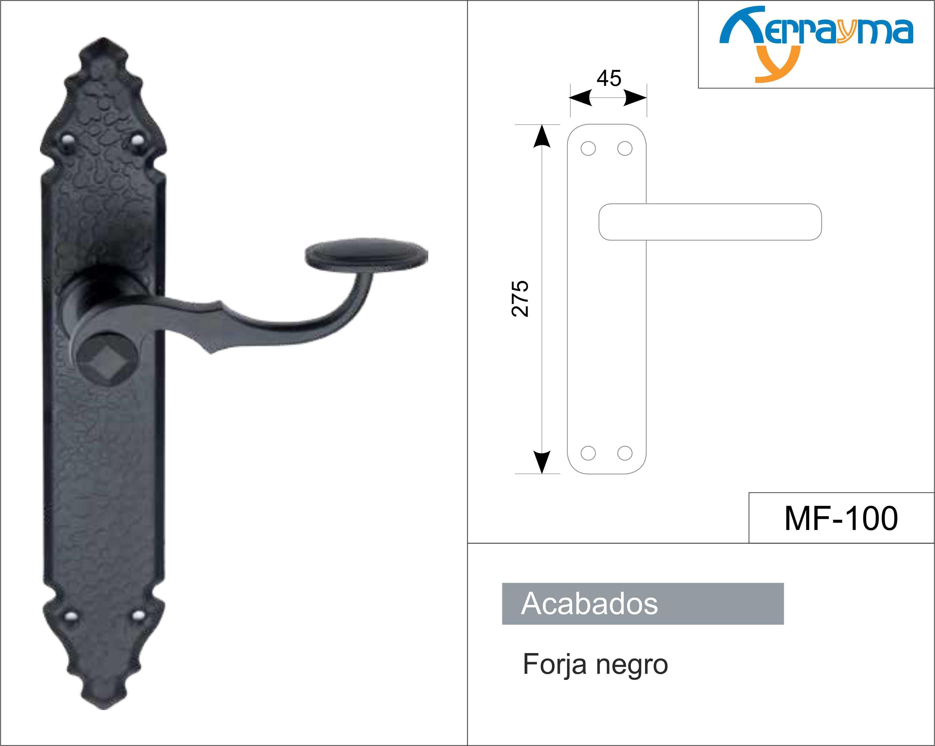 Juego de manillas manilla placa forja negro modelo mf 100 - Manillas de forja ...