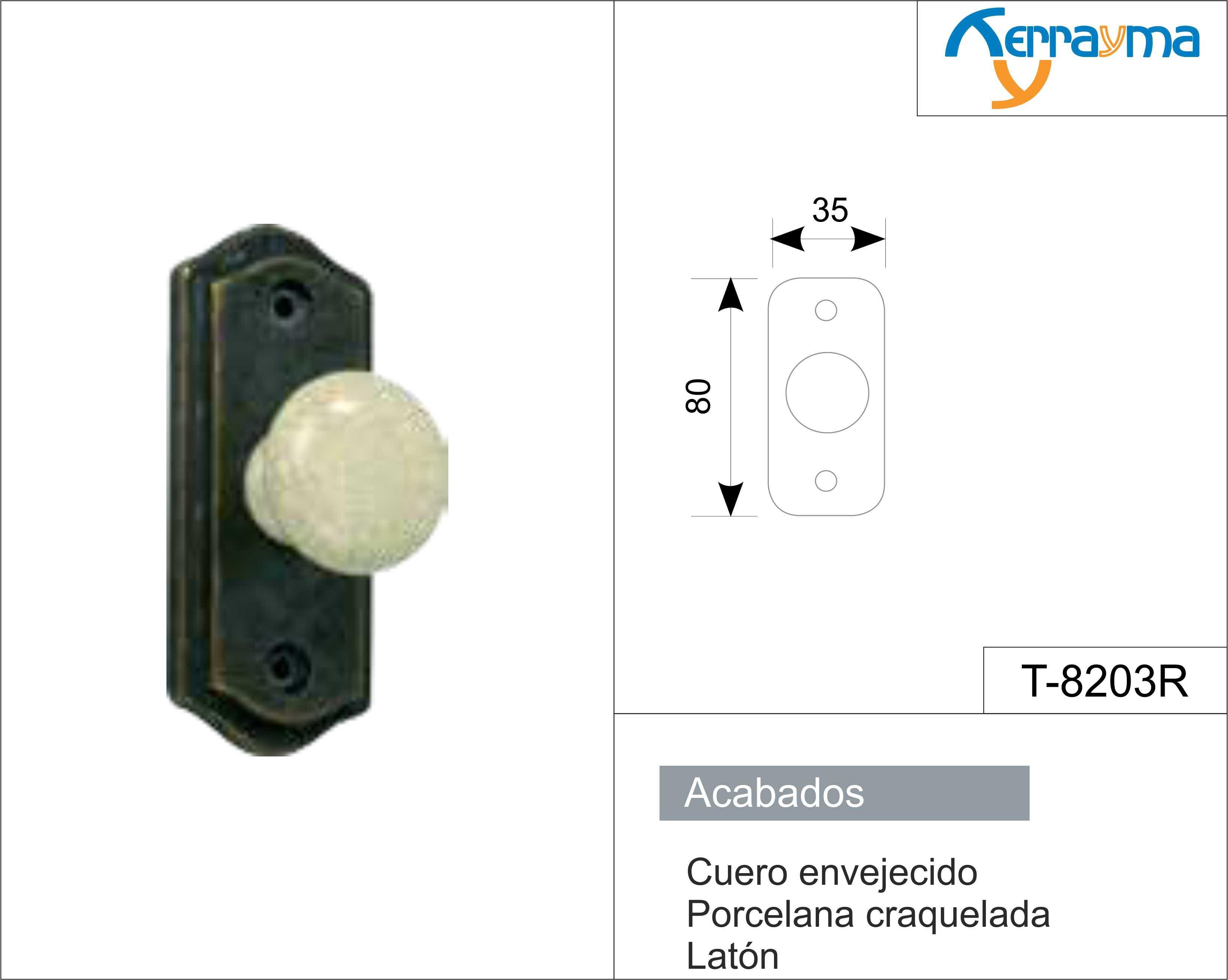 Manilla laton pomo rustica porcelana modelo t 8203r - Manillas rusticas para puertas ...