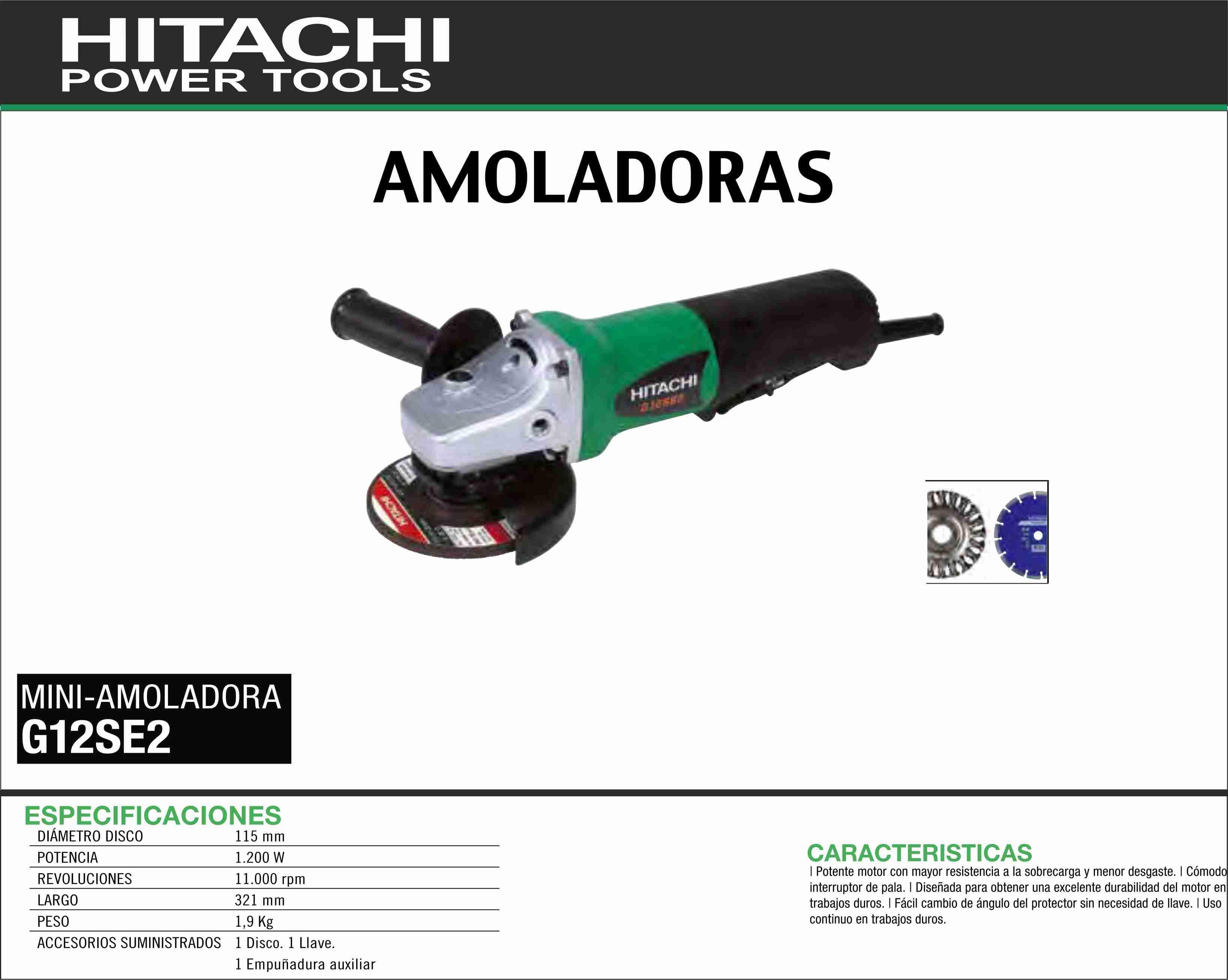hitachi g12se2. hitachi-maquinaria-amoladora-mini-g12se2 hitachi g12se2