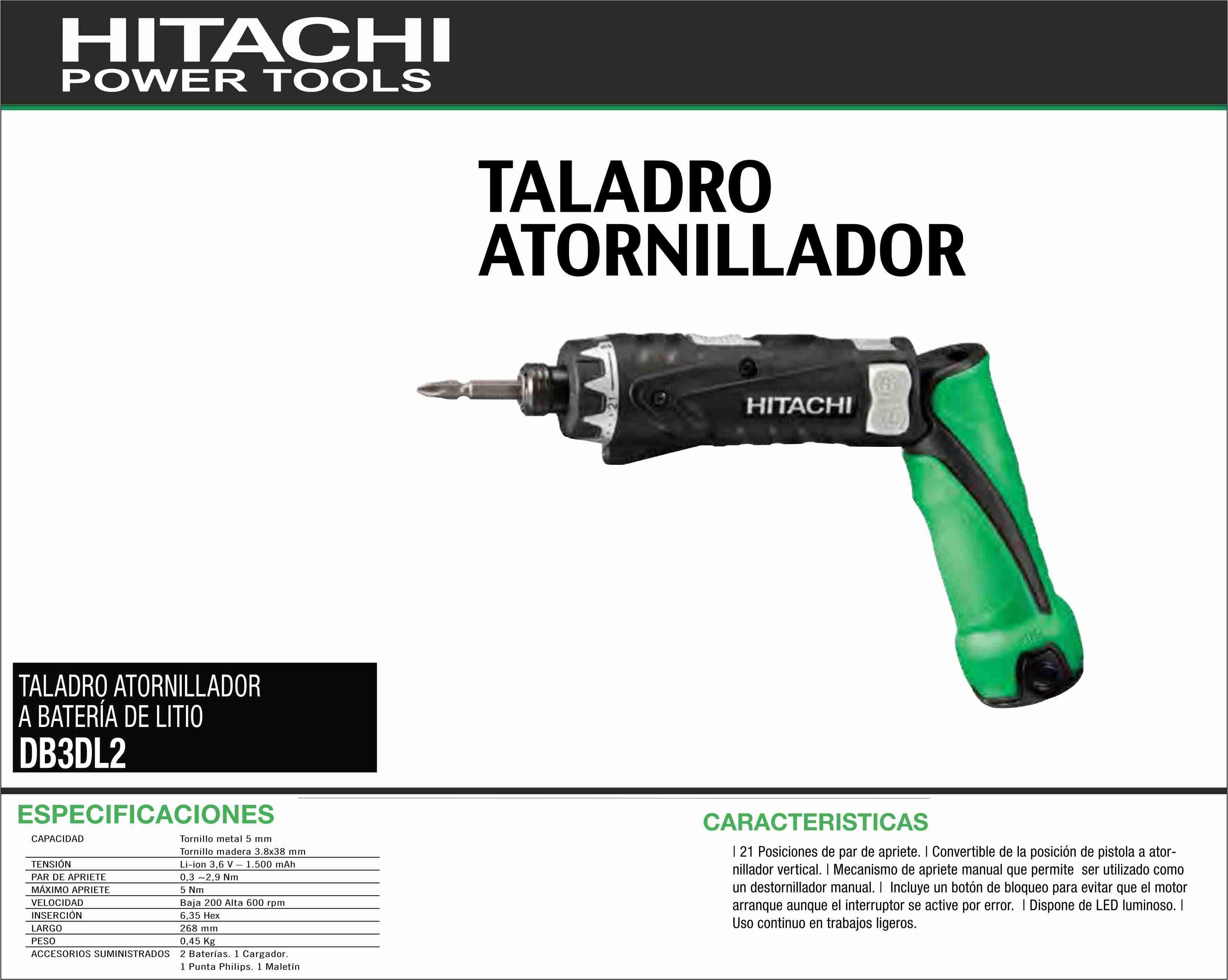Hitachi taladro atornillador a bateria de litio db3dl2 - Ofertas de taladros de bateria ...